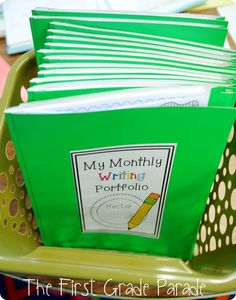 Monthly writing journals. Great to show growth, like portfolios!