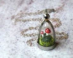 Terrarium Moss Mushroom Necklace. Sterling Silver Chain. Woodland Botanical Jewelry on Etsy, $72.63 AUD