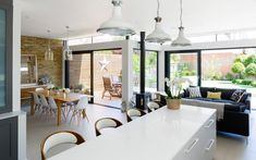 Modern London Residence by Granit Chartered February in Wandsworth, London, England, Broadgates Road is a private home designed by Granit Chartered Architects. Kitchen Diner Lounge, Kitchen Diner Extension, Open Plan Kitchen Diner, Open Plan Kitchen Living Room, Kitchen Dining Living, Open Plan Living, My Living Room, Living Room Interior, 1930s House Interior