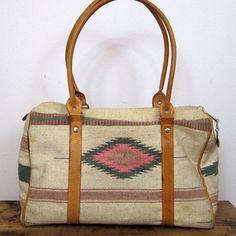 navajo tapestry cream fabric duffel purse