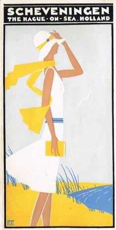 Vintage Travel Poster -  by Louis Christiaan Kalff (1897-1976), ca. 1931, La Hague on Sea, Scheveningen - Holland.