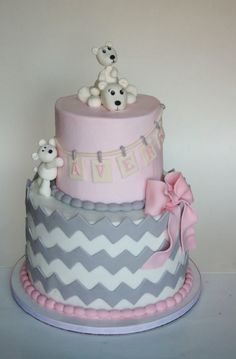 Polar Bears and Chevron Fondant Cake / Grey and Pink