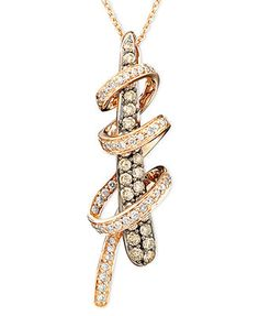 Le Vian Diamond Necklace, 14k Rose Gold Chocolate Diamond Twirl Pendant (3/4 ct. t.w.)
