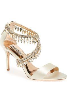 BADGLEY MISCHKA Crystal-Embellished Sandal (Women). #badgleymischka #shoes #sandals