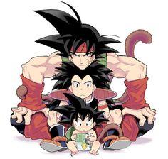 Bardock, Raditz, & Goku