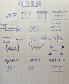 A reference sheet I made for different ways to write the date. bullet journal, date headers, arrow doodles, bujo, planner To Do Planner, Trip Planner, Travel Planner, Planner Ideas, Pretty Notes, School Notes, Bullet Journal Inspiration, Doodle Inspiration, Style Inspiration
