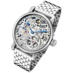 Rougois Mechanical Skeleton Steel Watch #skeletonwatch #mechanicalwatch