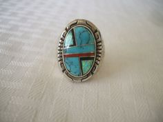 Huge Heavy 32g Vintage NAVAJO Sterling Silver Channel INLAY Mans RING size 10.75