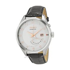 Seiko Kinetic Cream Dial Black Leather Mens Watch SRN049