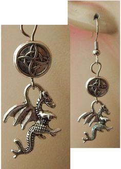 Silver Celtic Dragon Charm Drop/Dangle Earrings Handmade Jewelry Hook Knot NEW  #handmade #DropDangle