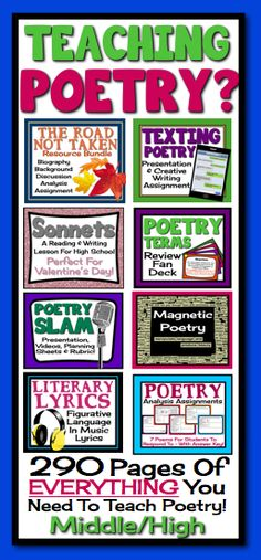 This huge bundle contains over 290 pages of creative and engaging poetry resources that will save you hours and hours of prep time! It has absolutely everything you need to teach middle/high students how to read, understand, analyze, and write poetry. Teaching Poetry, Teaching Language Arts, Teaching Writing, Teaching English, Teaching Ideas, Middle School Reading, Middle School English, Poetry Unit, Writing Poetry