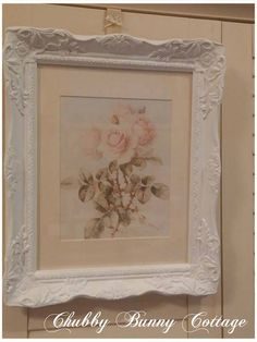 shabby romantic cottage rose print pink ornate frame