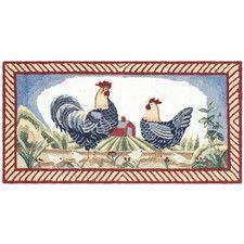 DuraRug Blue Rooster Area Rug