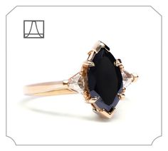 Beholden • Black Diamond Marquis Bea Every faceted Black Diamond is unique, due to the nature of the material, which makes this lovely elongated and slightly wide Black Diamond Marquis Bea a one-of-a-kind, made especially for someone's one-of-a-kind. 14k