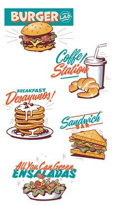 ilustración comida barcelona, diseño carta restaurante