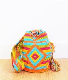 wayuu mochila bag blue colourful