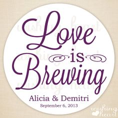 Thank You Favor Sticker Love is Brewing Tea or by WishingHeart, $25.00