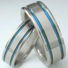 http://www.tirings.com/matching-blue-titanium-wedding-band-set-stb5.html mens blue titanium wedding band