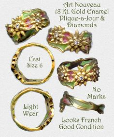 Art Nouveau French Plique a Jour Enamel and Diamonds in 18 Kt. Gold Ring ~ R C Larner Buttons at eBay  http://stores.ebay.com/RC-LARNER-BUTTONS