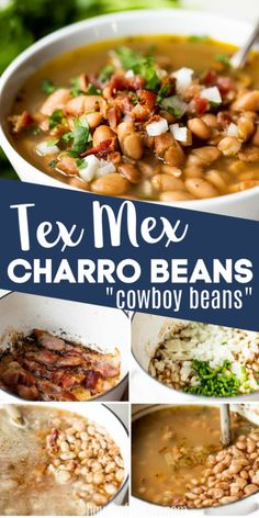 A Tex Mex favorite, these pinto beans are tender and simmered in a flavorful bean broth seasoned with onion, garlic and bacon. Jalapeño adds just a touch of heat. This Mexican bean soup is the perfect side dish for any meal! Carnitas, Barbacoa, Mexican Bean Soup, Mexican Dishes, Mexican Food Recipes, Healthy Side Dishes, Side Dishes Easy, Side Dish Recipes, Bean Recipes