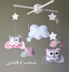 Baby Mobile  Owl Mobile  Pink and Gray Mobile  by LoveFeltXoXo, $110.00...Too cute if you go owl theme!