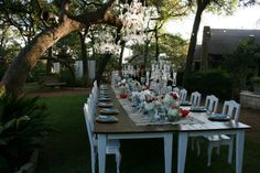 wedding chandelier hanging from tree | ... at this amazing table with chandeliers hanging from the tree above.   Love this wide table