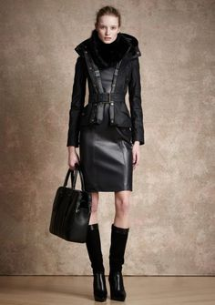 Belstaff Pre-Fall 2013 — Runway Photo Gallery — Vogue Belstaff leather skirt jacket boots fashion outfit