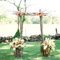 Rustic Tree Branch Ceremony Arch - ceremony decor, wedding arch