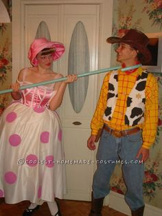 Every year, we look at ourselves and decide what couple we could play convincingly, so our looks will lend to our costume. We were a shoe in for Woody and Bo-Peep. Disney Couple Costumes, Cute Couples Costumes, Cool Costumes, Adult Costumes, Costume Ideas, Creative Costumes, Disney Couples, Group Costumes, Movie Costumes