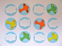 Planes Clouds Airplanes Cupcake Topper Set by YourCupcakeStory, $18.00