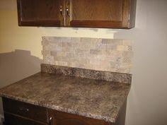 Qseal 3x6 subway villa classica tumbled marble field tile splash
