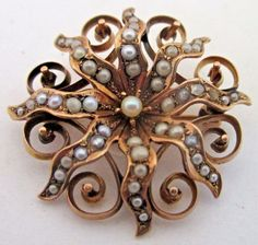 Gorgeous Victorian 10K Yellow Gold Seed Pearl Cluster Sunburst Brooch Pin