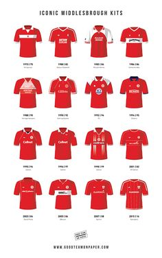 Some of the the most iconic kits that Boro players have worn throughout the history of the club. The kits range from the 1970's right up through the 2000s and include the legendary Heritage Hampers jersey and The League Cup winning Dial-a-phone top. Prints available at www.goodteamonpaper.co.uk