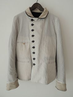 White jacket with black buttons | Antique | Old | Contrast coat | georgie