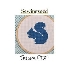 Squirrel Silhouette Cross Stitch Pattern, INSTANT DOWNLOAD. , via Etsy.