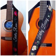Guitar Strap Hand Embroidered Custom Monogram Name  by Meoneil