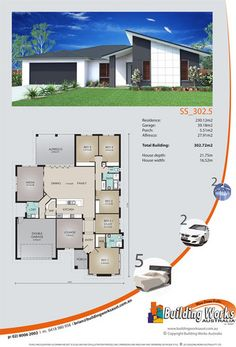 Single storey home design number SS_302_5 - 5 bedrooms, 2 bathrooms, 2 car garage. #buildingworksaust.com.au #sydneybuilder #australianhomes