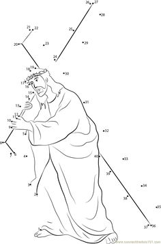 Download or print Jesus Carrying Cross dot to dot printable worksheet from Holidays,Good-Friday connect the dots category.