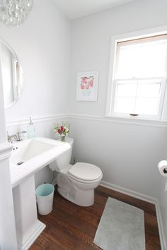 In our kitchen, living room, half bath, & mudroom we used Sherwin Williams Rhinestone. It's soft, light & bright. It has a very slight blue undertone, which works for the clean, fresh feel I wanted for those spaces.