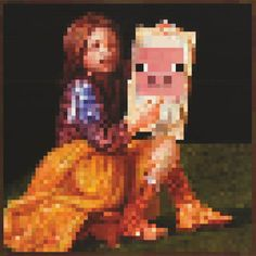 Minecraft Pig Portrait Official Video Game Poster 24x24