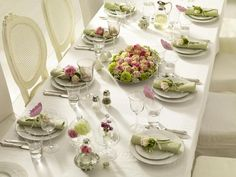 romantic white green and pink table setting