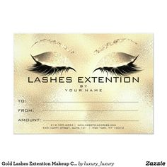 Gold Lashes Extention Makeup Certificate Gift Card