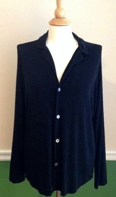 Chico's Travelers size 1 jacket top BLACK button front long sleeve layering