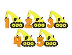 Construction Crane Birthday Numbers Set Of by ActionApplique2015