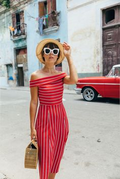 €24.32 Asos Parisian Tall Off Shoulder Red Pencil Dress Teamed With White Sunglasses And A Straw Hat