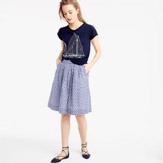Pull-on skirt in gingham clip dot