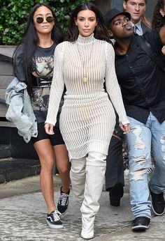 His biggest fan: Kim Kardashian left her New York City hotel to head to Kanye West's Yeezy Season 4 show on Wednesday