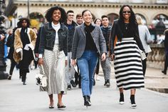 A denim jacket, a blazer, and a cropped moto walk into a fashion show... #refinery29 http://www.refinery29.com/2016/03/105661/paris-fashion-week-fall-winter-2016-street-style-pictures#slide-39