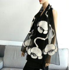 Felted scarf Nuno felt shawl silk and wool Black and white