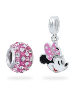 Look at this #zulilyfind! Pink Crystal & Sterling Silver Minnie Mouse Pendant & Bead by Mickey Mouse & Minnie Mouse #zulilyfinds